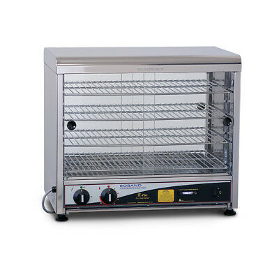 Hot Food Warmer 50 Pie, Curved Top Square Both Sides Glass, Roband PW50G NEW