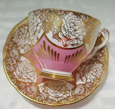 Royal Stafford Pink And Gold Roses Cup And Saucer