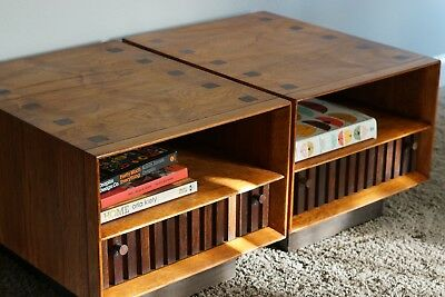 mid century modern 1970 Lane rosewood and pecan end tables bedside tables pair