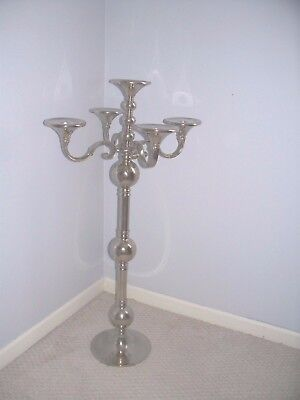 Large 5 Arm Chrome Silver Plate Candelabra