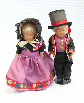 """Antique Celluloid pair dolls Victorian 6"""" German? French? Clam Sea Shell Mark"""