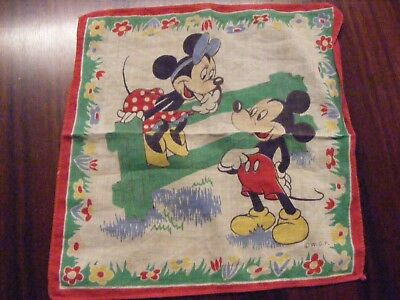 Vintage Walt Disney Mickey and Minnie Mouse Handkerchief