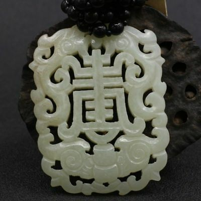 China Exquisite Hand-carved brave troop and 'Shou 寿' carving Hetian jade Pendant