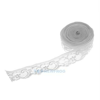 5yd Vintage Embroidered Lace Edge Trim Ribbon Wedding Applique(Raw White) TN2F