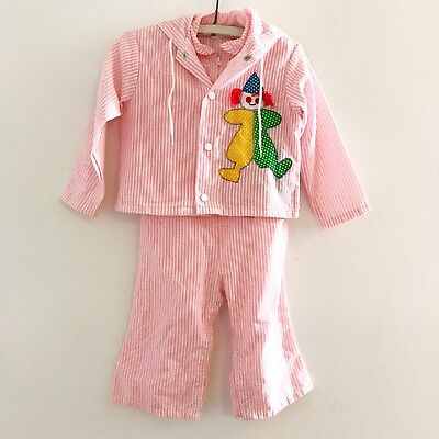 Vintage ToddleTime for Jcpenney Pink Pin Striped Clown Jumpsuit Jacket Size 1.5