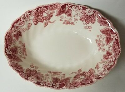 "Johnson Brothers ""strawberry Fair"" Pink 8 7/8"" Oval Vegetable Bowl - Excellent"
