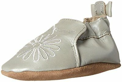 Robeez Girls' Soft Soles with Bow Back Slip-on, Metallic Mist, 6-12 Months M US
