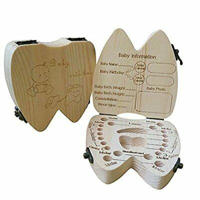 COCODE Wood Milk Tooth Keepsake Box Baby Children Save Teeth Storage Holder New