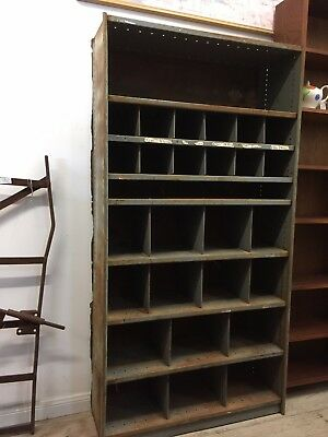 Vintage Industrial Large Pigeon Hole Shelving Wall Unit Cabinet Grey