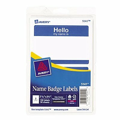 Avery Hello My Name is Name Tag Label Stickers, Blue Border, Pack of 100 (5141)