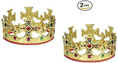 Unique Gold Plastic Jeweled King Crown (2) New