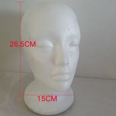 Mannequin Women Head Model Foam Haircut Learning Wig Hair Display Stand White