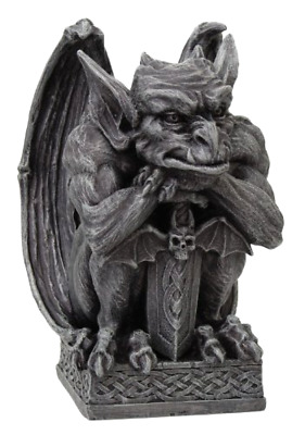 Gargoyle with Shield Statue Halloween Decoration Cold Cast Resin Figurine 6.5 In