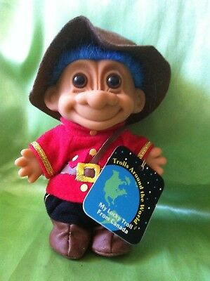 Troll Russ Doll Canadian Mounty Around The World Canada Vintage Toy Hang Tag