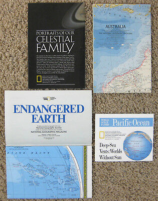 4 Vintage National Geographic Maps Celestial, Earth, Australia, Oceans