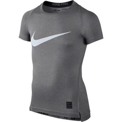 Nike Youth Boys Nike Pro Cool HBR Compression T-Shirt 726462-091 Carbon Heather