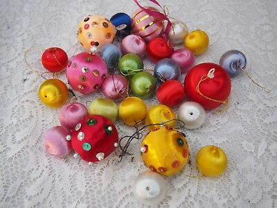 Vintage Christmas Threaded Baubles Decorations - Various Sizes and Colours