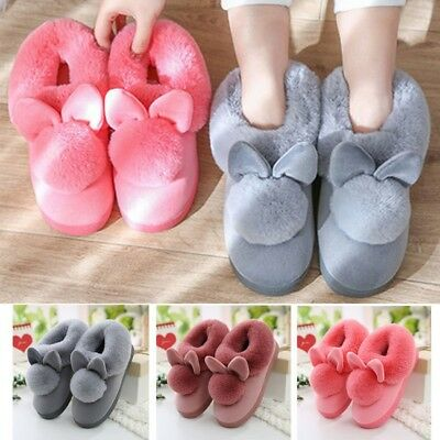 Lovely Rabbit Ears Soft Home Slippers Cotton Winter Women Slippers Casual Shoes