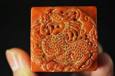 Delicate Chinese old jade hand-carved *Brave troops* seal C25
