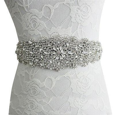 "106""x1.6"" Bridal Crystal Pearls Beaded Sash Belt for Wedding Dress With Ribbon"