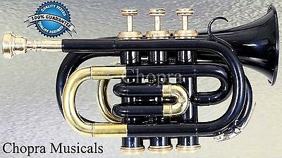 Classic Pocket Trumpet 3V Pro Painted with Mouth Piece n Case Fast Ship