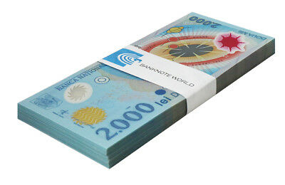 Romania 2,000 Lei X 100 Pieces (PCS), 1999, P-111a, UNC, Bundle, Pack, Polymer