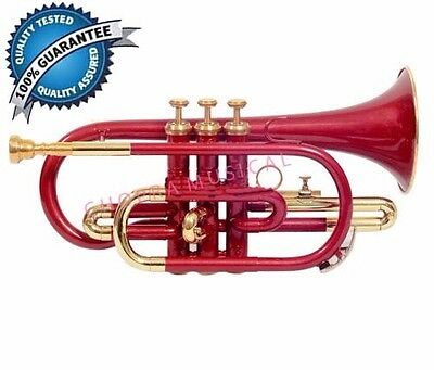 Cornet Professional 100% Brass Red Colored 3V with Hard Case+Mouth Piece Free