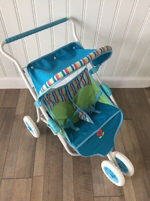 American Girl Bitty Baby Twins---Blue & Green Striped Double Stroller