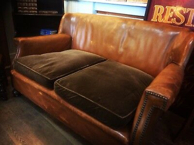 Antique Brown Leather Sofa