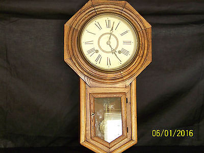 Antique Mission Oak Arts & Crafts Wall Clock w/Trademark Complete Works!