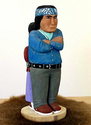 """Hand carved Navajo folk art carving, """"Stubborn Twosome"""" 15"""" (t)  by Rena Juan"""