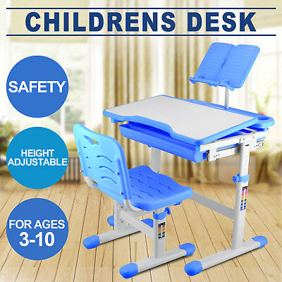 Kids Height Adjustable Children Desk&Chair Smart Table Blue Color 3 To 10 Age