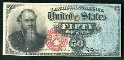 """50 Fifty Cents Fourth Issue """"Stanton"""" Fractional Currency Note Xf+"""