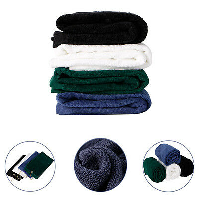 Hot Durable Tri-Fold Golf Sport Hiking Cotton Towel With Hanging Carabiner Ring