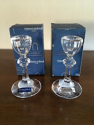 Pair Of Villeroy & Boch Crystal Candle Holders.