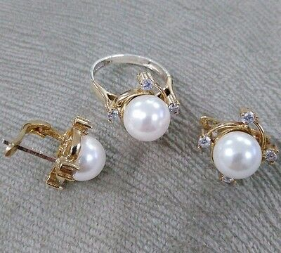 * Ladie's Handmade Jewelry 925 Sterling Silver / White Pearl Set Ring Sz 7.5
