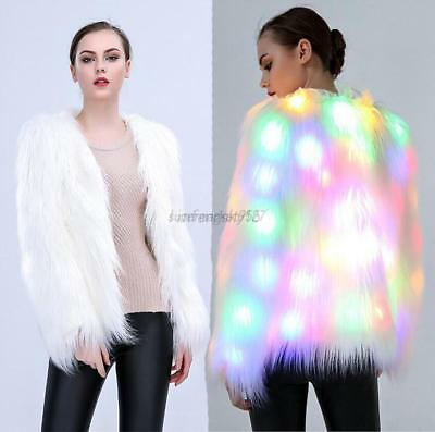 2017 Women Faux Fur LED Light Coat Jacket Luminous Xmax Party Parka Tops Outwear