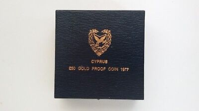 Cyprus 1977 50 Pounds Gold Proof Blue Box (Only Empty Box No Coin)