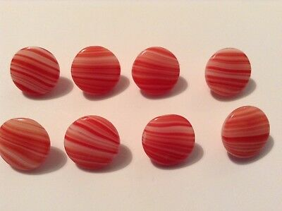💛 8 Red & White Marbled Effect Czech Glass Old/Vintage Buttons. 💛  1.3 Cm