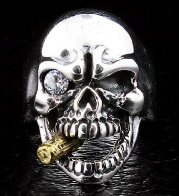 Diamond Mafia Skull 925 Sterling Silver Ring Men's Biker Rocker Gothic New Rock