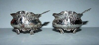 Fine Pair Antique Solid Silver Salts & Miniature Spoons. Fully Hallmarked. 1894?