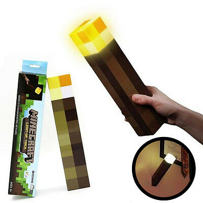 Minecraft Torch Light Up Bright Children Kids Fun Toys Wall Mountable Read Lamp
