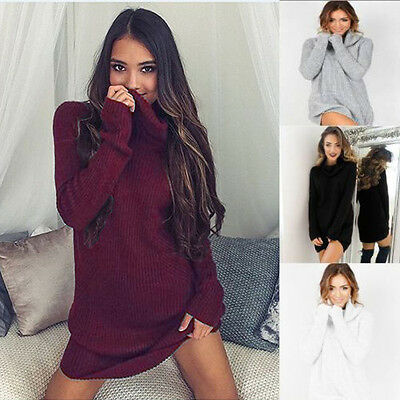 UK Womens Chunky Knitted Sweater Ladies Long Sleeve Pullover Ribbed Jumper Dress