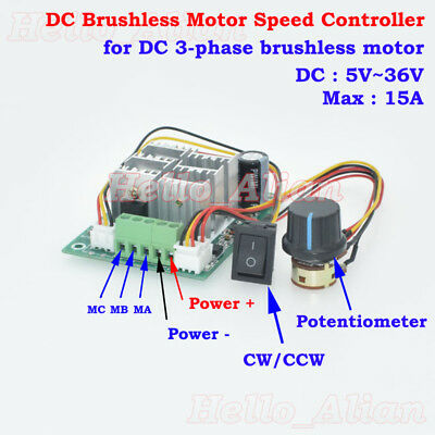 DC5-36V 3-phase DC Brushless Motor Speed Controller CW CCW Reversible Switch 15A