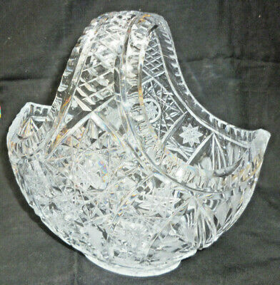 VINTAGE BOHEMIA LEAD CRYSTAL BASKET HUGE 24cm - beautiful hand cut detail -vgc