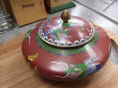 Cloisonne chinese pot with dragon decoration and lid.