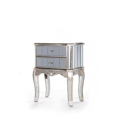 Argente Mirrored Two Drawer Bedside Cabinet- Silver Cabinet French