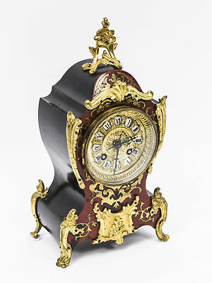 Antique Boulle Brass Inlaid  Mantel Clock by Martie & Cie C1875