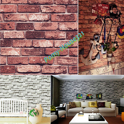 57Sq.ft Vinyl Retro Vintage Faux Brick Stone Wallpaper Red/Grey Rust Wall Decor