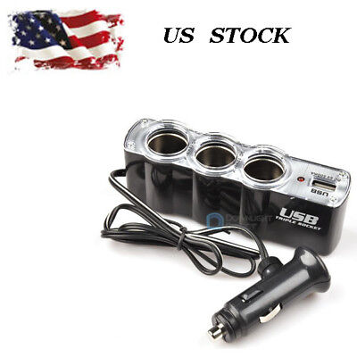 3 x Way Multi Car Cigarette Socket Lighter Splitter Charger DC Power Adapter